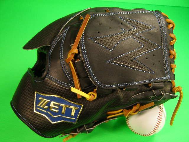 送料無料 型付け済み ゼット ZETT 投手用 ブラック×タン 海外モデル 硬式野球対応 型押し革 ピッチャー グローブ 硬式 軟式 M号 ソフト