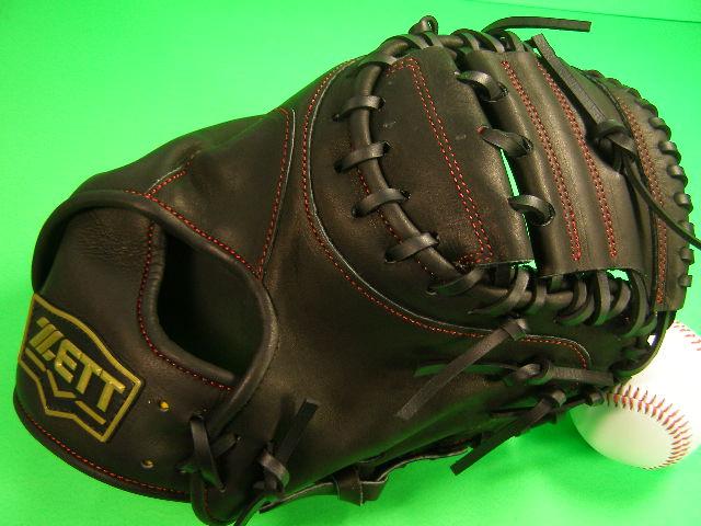 送料無料 型付け済み ゼット ZETT 硬式用 キャッチャーミット ブラック×レッド糸 高校野球対応カラー 海外モデル 硬式 キャッチャー ミット