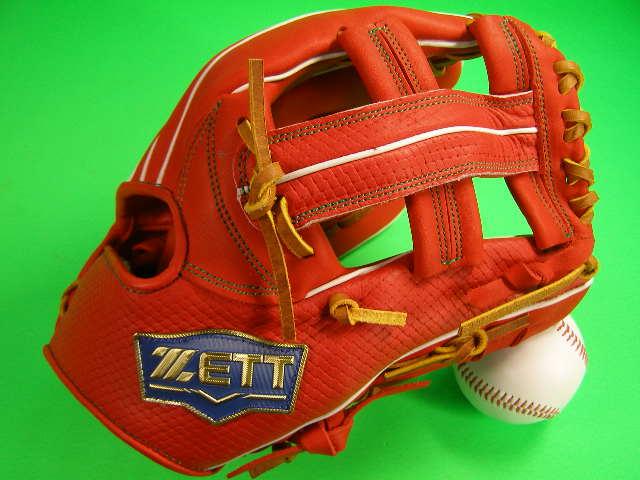送料無料 型付け済み ゼット ZETT 海外モデル 内野用 オレンジ×タンヒモ 硬式野球対応 11.5インチ 型押し革 内野 グローブ 硬式 軟式 M号 ソフト
