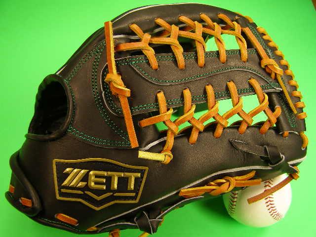 型付け無料 ゼット ZETT 海外モデル 硬式用 外野用 ブラック×タンヒモ 高校野球対応カラー