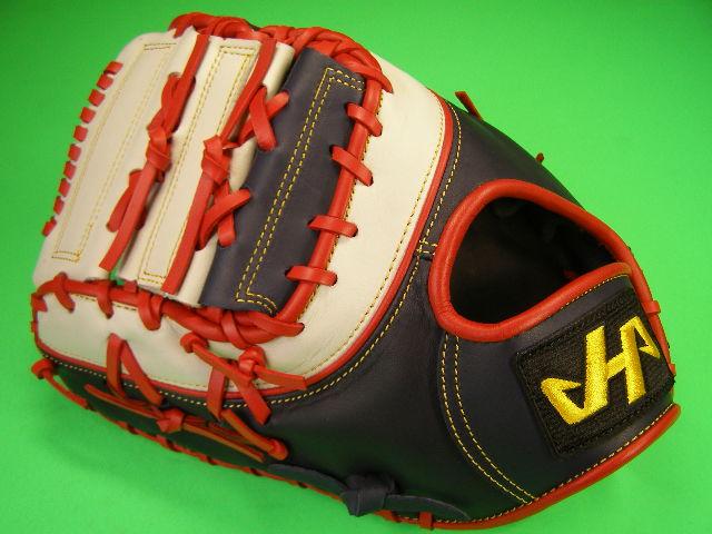 型付け無料 HATAKEYAMA ハタケヤマ 海外モデル 左投げ用 硬式野球対応 ファーストミット ダークネイビー×レッド×ホワイト ラベルブラック