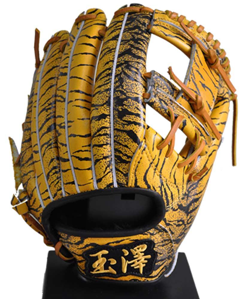 あす楽 限定 タマザワ×BM オリジナル 軟式 内野手用 グラブ 右投用 トラ柄 グラブ袋付き