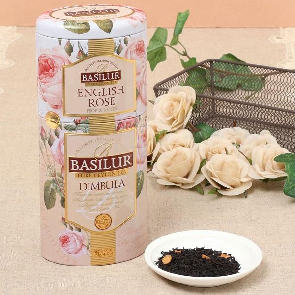 2重の缶の中にバラの香りの紅茶と ディンブラ産茶葉がセットになっています ENGLISH ROSE-DIMBULA 正規品 茶葉100g ギフト 通販 花 内祝い 紅茶 薔薇 フレーバーティー バラ 茶葉 缶 プレゼント セイロンティー 誕生日