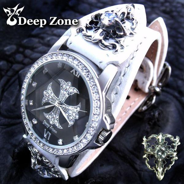 腕時計 メンズ/ホワイトレザーブレスウォッチ ホワイトメタル コンチョ [ALBW-040]