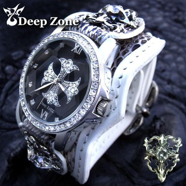 腕時計 メンズ/パイソンxホワイトレザーブレスウォッチ ホワイトメタルコンチョ [ALBW-041]