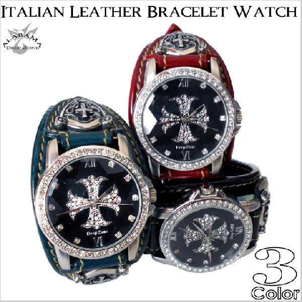 腕時計 メンズ/イタリアンレザーブレスウォッチブレスレット ウォッチ [ALBW-063]
