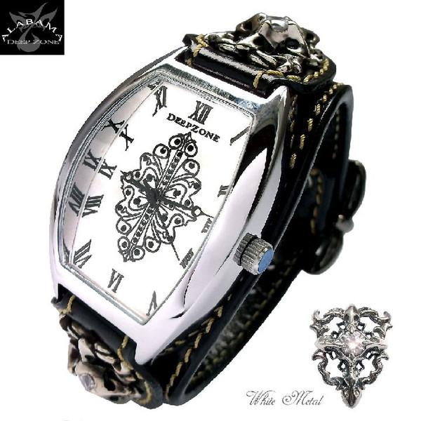 腕時計メンズ イタリアンレザー ジルコニアクロス トノーフェイス ブレスウォッチ ホワイトメタルコンチョ