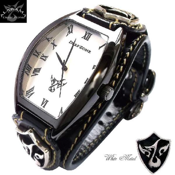 腕時計メンズ イタリアンレザー ロゴ トノーフェイス ブレスウォッチ ホワイトメタルロゴコンチョ