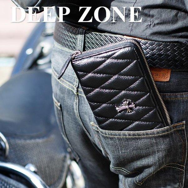 【Deep Zone】 カーフスキン キルティングラウンドファスナーウォレットw/ステンレスクロス [本革 長財布]
