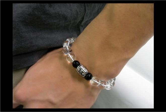 Deep Zone stainless barrel design top x power stone bracelet [PSB,005a]