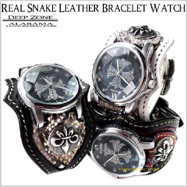 腕時計 メンズ/ パイソン レザー ブレスレット ウォッチ [ALBW-060]