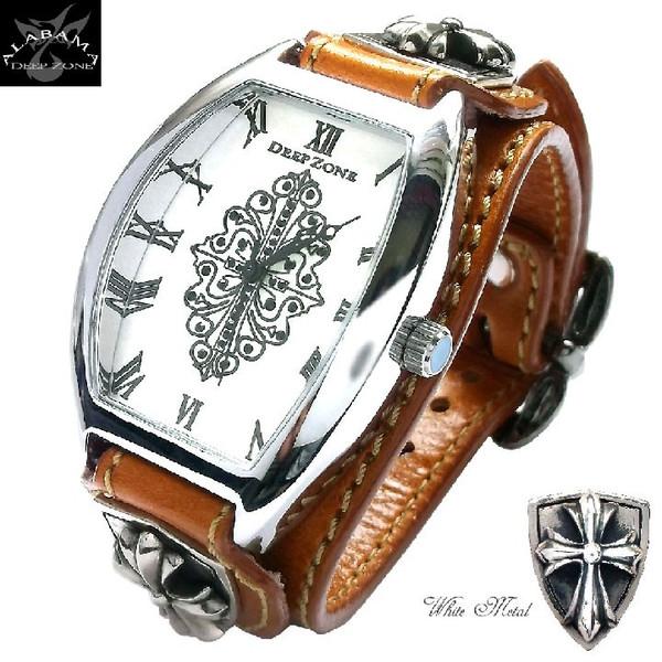 腕時計メンズ イタリアンレザー トノーフェイス ブレスウォッチ ホワイトメタルクロスコンチョ キャメル
