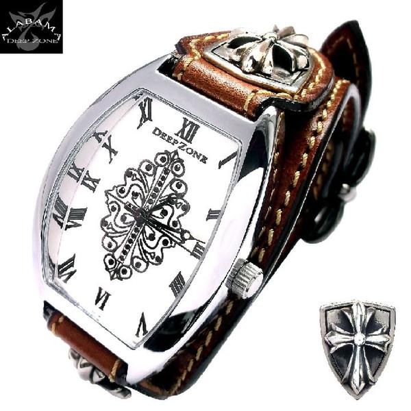 腕時計メンズ イタリアンレザー トノーフェイス ブレスウォッチ ホワイトメタルクロスコンチョ ブラウン