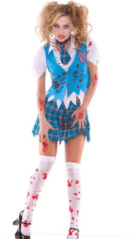 血だらけゾンビ風制服コスチューム★4ピースセット ハロウィンコスチューム コスプレ衣装 (二次会、仮装、パーティー、宴会) 女性 大人用:Basqueバスク