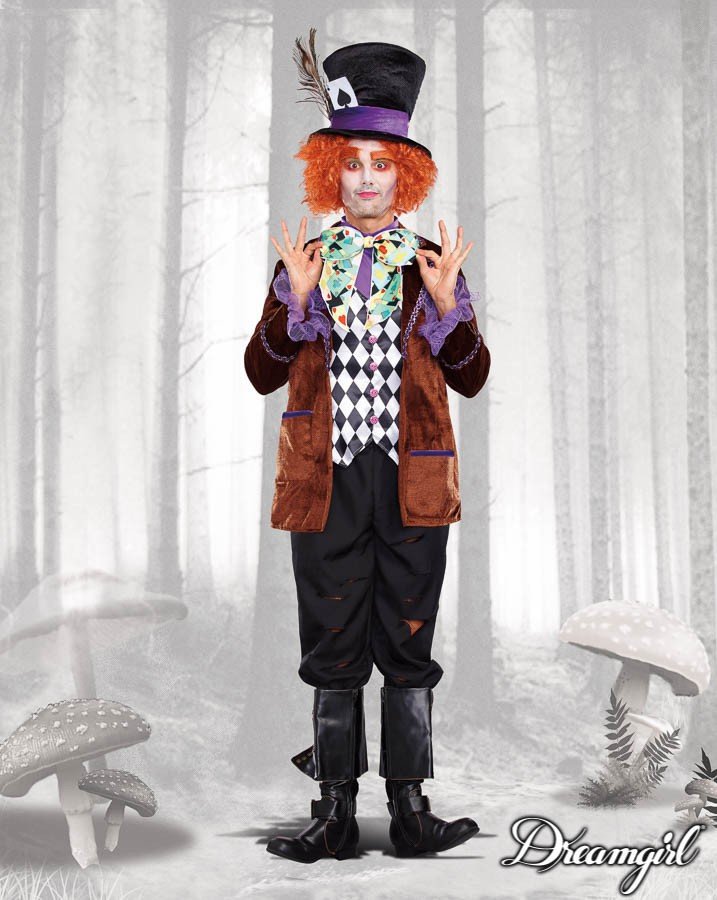 マッドハッター ジョニーデップ アリス 大人男性  3点セット コスチューム コスプレ衣装 (二次会、結婚式、仮装、パーティー、宴会、ハロウィン)