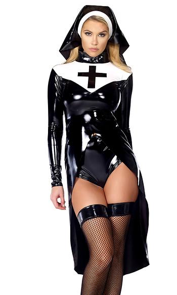 魅惑的なセクシーナン 修道女 コスチューム 3点セット コスプレ衣装 (二次会、結婚式、仮装、パーティー、宴会、ハロウィン)大人女性用