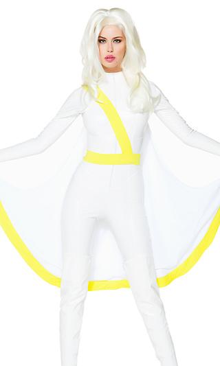 クライメット・コントロール セクシースーパーヒーロー コスチューム 3点セット コスプレ衣装 (二次会、結婚式、仮装、パーティー、宴会、ハロウィン)大人女性用