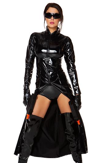 マトリックス リローデッド風セクシームービーキャラクター 4点セット コスプレ衣装 (二次会、結婚式、仮装、パーティー、宴会、ハロウィン)大人女性用