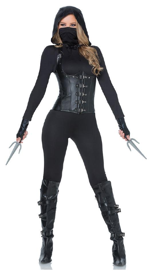 魅惑的な闇の暗殺者のコスチューム5点セット コスプレ衣装 (二次会、結婚式、仮装、パーティー、宴会、舞台、演劇、ハロウィン) 女性 大人用