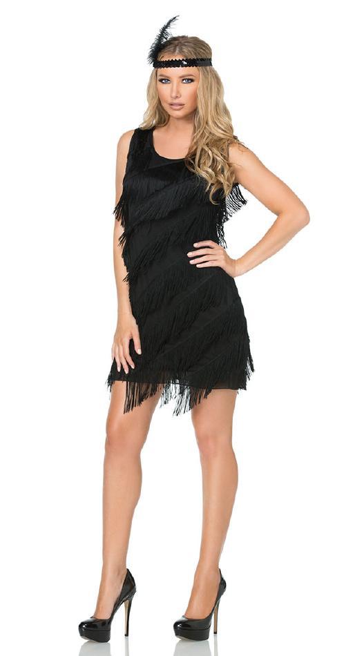愉快なフリンジ・フラッパーのコスチューム2点セット コスプレ衣装 (二次会、結婚式、仮装、パーティー、宴会、舞台、演劇、ハロウィン) 女性 大人用