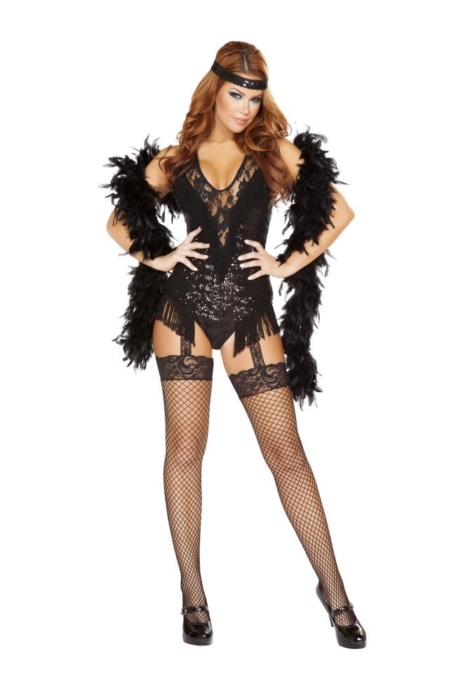 1920年代のパーティーフラッパーのコスチューム2点セット Roma Costumeローマコスチューム セクシー コスプレ衣装 (二次会、結婚式、仮装、パーティー、宴会、ハロウィン) 女性 大人用