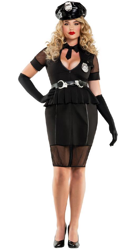 夜間警官のコスチューム2点セット【大きいサイズ】 コスプレ衣装 (二次会、結婚式、仮装、パーティー、宴会、舞台、演劇、ハロウィン) 女性 大人用