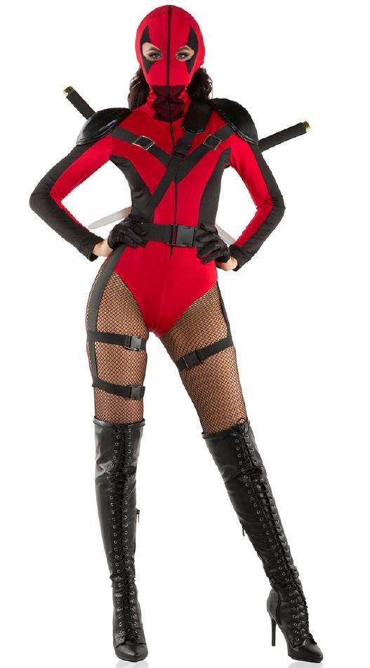 セクシーな暗殺者のコスチューム2点セット コスプレ衣装 (二次会、結婚式、仮装、パーティー、宴会、舞台、演劇、ハロウィン) 女性 大人用
