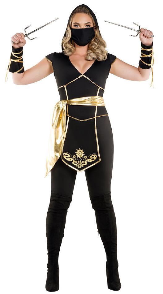 忍者アサシンのコスチューム2点セット【大きいサイズ】 コスプレ衣装 (二次会、結婚式、仮装、パーティー、宴会、舞台、演劇、ハロウィン) 女性 大人用