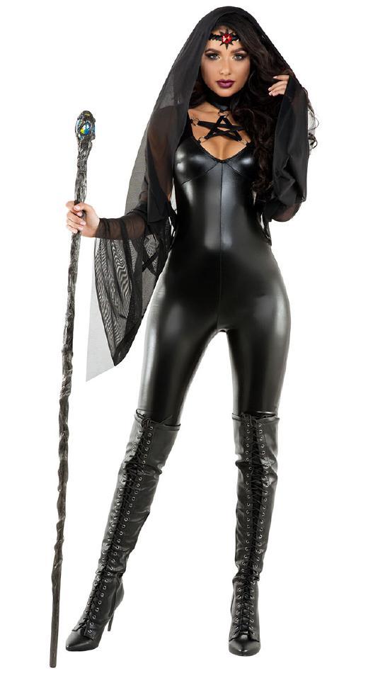 黒魔術の魔女のコスチューム3点セット コスプレ衣装 (二次会、結婚式、仮装、パーティー、宴会、舞台、演劇、ハロウィン) 女性 大人用