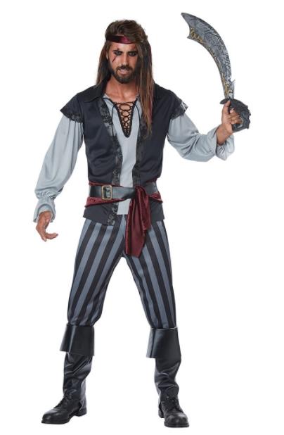 スカリーワグ ごろつき海賊 アダルトコスチューム プラスサイズ 6点セット 男性用 コスプレ衣装 (二次会、仮装、パーティー、ハロウィン)大人男性用