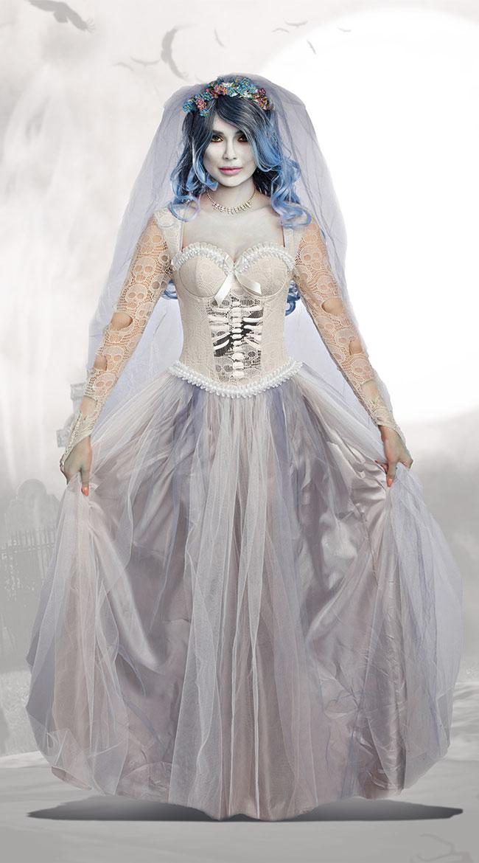 ダイイング マリー コスチューム 2点セット 女性用 コスプレ衣装 (二次会、仮装、パーティー、ハロウィン)大人女性用