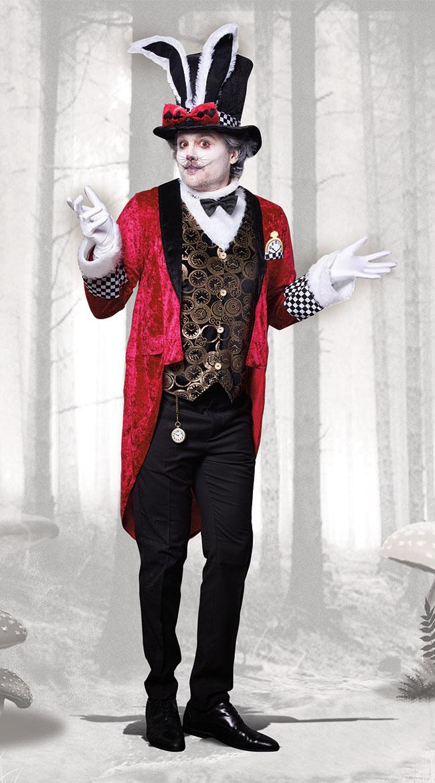 メンズ ホワイトラビットコスチューム 2点セット 男性用 コスプレ衣装 (二次会、仮装、パーティー、ハロウィン)大人男性用