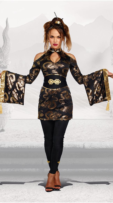 ゴールデン ゲイシャコスチューム 3点セット 女性用 コスプレ衣装 (二次会、仮装、パーティー、ハロウィン)大人女性用