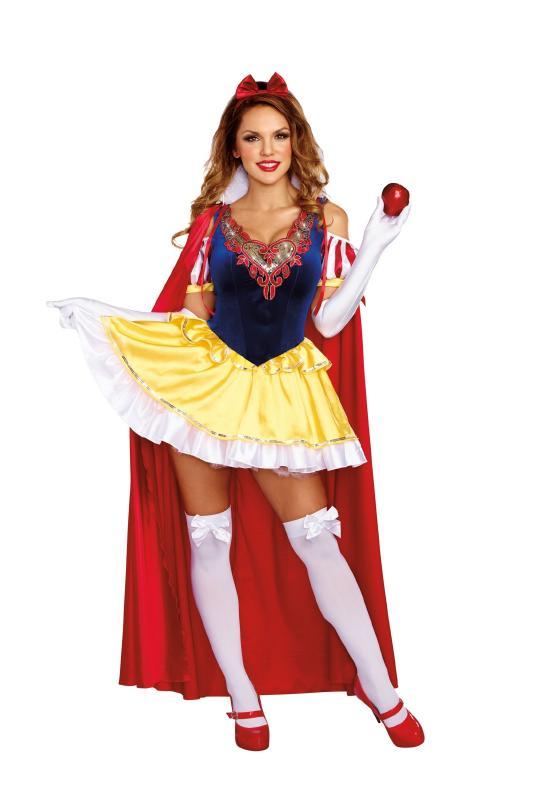 サッシー スノーホワイト レディースコスチューム 3点セット 女性用 コスプレ衣装 (二次会、仮装、パーティー、ハロウィン)大人女性用