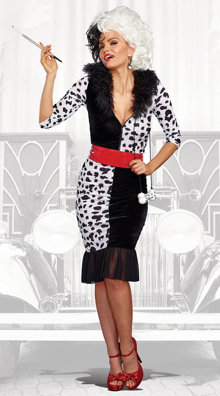 ダルメシアン クルエラ ディーヴァコスチューム 2点セット 女性用 コスプレ衣装 (二次会、仮装、パーティー、ハロウィン)大人女性用