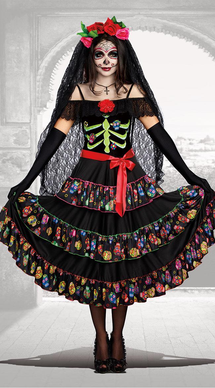 レディ オブザデッド コスチューム 3点セット 女性用 コスプレ衣装 (二次会、仮装、パーティー、ハロウィン)大人女性用