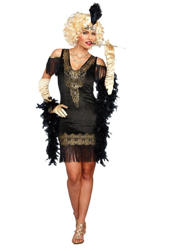 レディース スワンキーフラッパーコスチューム 2点セット 女性用 コスプレ衣装 (二次会、仮装、パーティー、ハロウィン)大人女性用