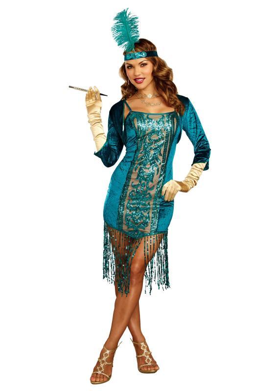 タンタライジング ティールフラッパー レディースコスチューム 3点セット 女性用 コスプレ衣装 (二次会、仮装、パーティー、ハロウィン)大人女性用