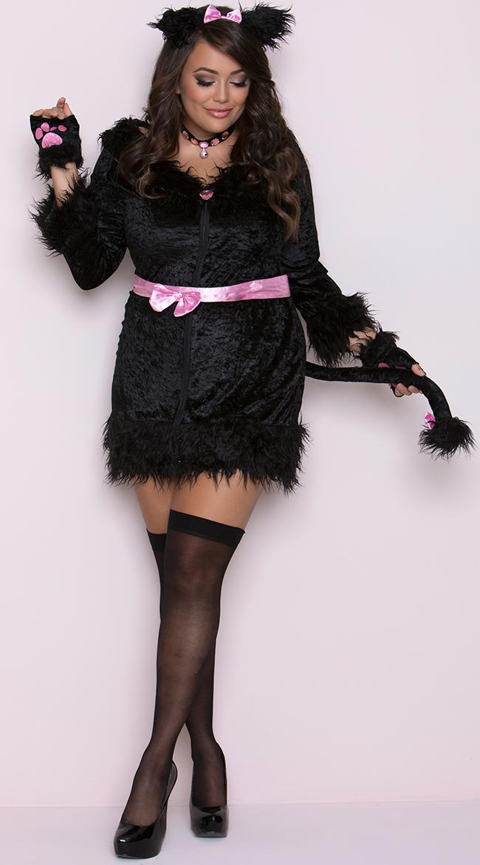 【大きいサイズ】キャティトュード コスチューム 4点セット 女性用 コスプレ衣装 (二次会、仮装、パーティー、ハロウィン)大人女性用