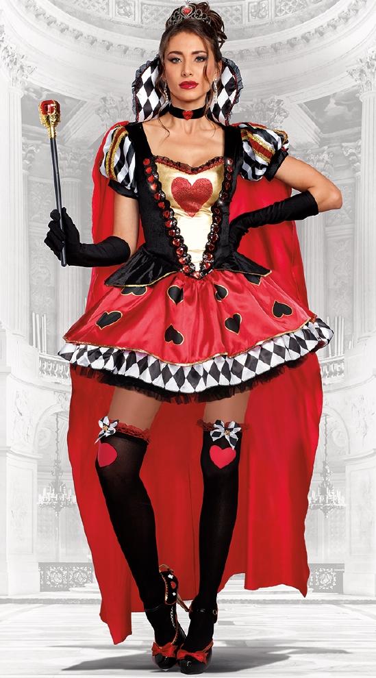 クィーンオブハーツレディース用コスチューム 4点セット コスプレ衣装  セクシー(二次会、結婚式、仮装、パーティー、宴会、ハロウィン)大人 女性