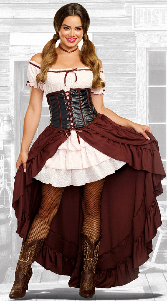 サルーンガール レディース用コスチューム 2点セット コスプレ衣装  セクシー(二次会、結婚式、仮装、パーティー、宴会、ハロウィン)大人 女性