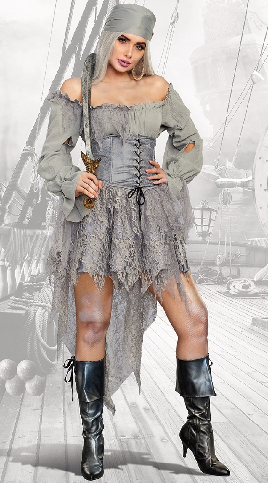 パイレーツ ゴースト レディース用コスチューム 3点セット コスプレ衣装  セクシー(二次会、結婚式、仮装、パーティー、宴会、ハロウィン)大人 女性