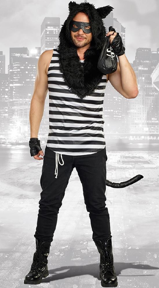 キャットバーグラー メンズ 用コスチューム 7点セット コスプレ衣装  (二次会、結婚式、仮装、パーティー、宴会、ハロウィン)大人 男性