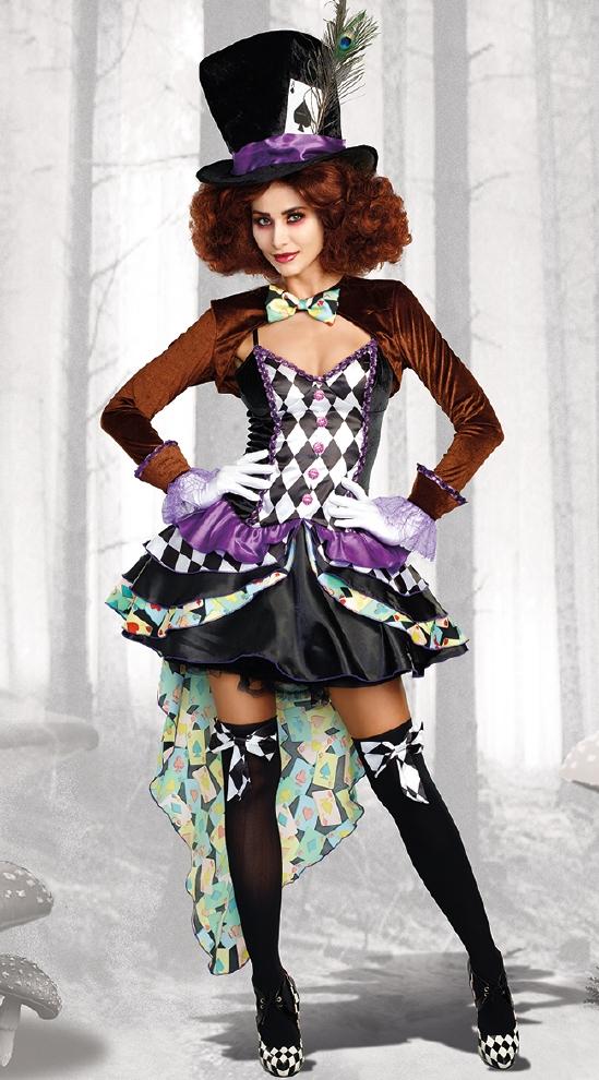 ハッター マッドネス レディース用コスチューム4点セット コスプレ衣装  セクシー(二次会、結婚式、仮装、パーティー、宴会、ハロウィン)大人 女性