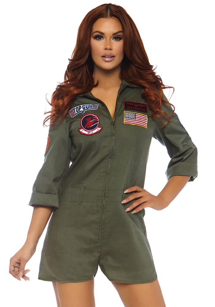 トップガン フライトスーツ ロンパース サロペット レディースコスチューム LEG AVENUEレッグアベニューコスプレ衣装 かわいい 仮装・ハロウィン・パーティー 大人女性