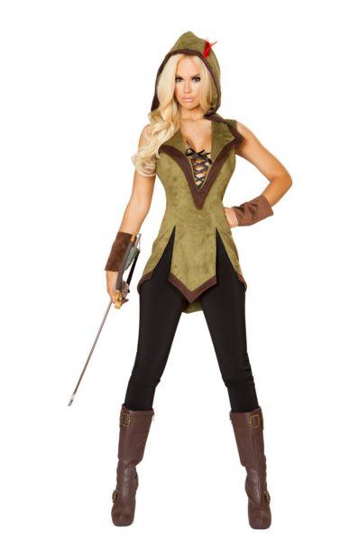 フーデド アウトロー レディースコスチューム 2点セット 女性用 コスプレ衣装 (二次会、仮装、パーティー、ハロウィン)大人女性用