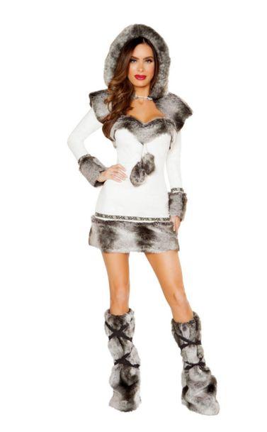 エスキモーホッティー レディースコスチューム 2点セット 女性用 コスプレ衣装 (二次会、仮装、パーティー、ハロウィン)大人女性用