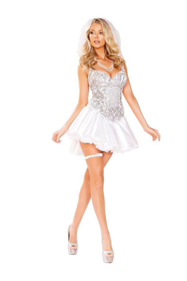 ニューリーウェドブライド 新婚 花嫁 4点セット ハロウィン コスチューム 仮装 大人女性レディース Roma