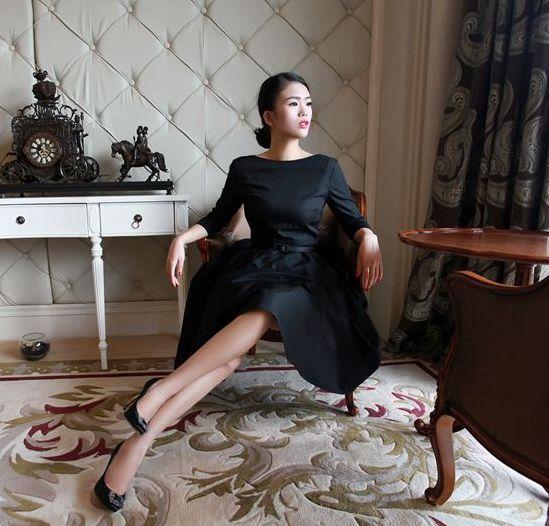 レトロ七分袖ヘップバーンドレス クラシック ヴィンテージ◆レディースファッション 大人ファッション