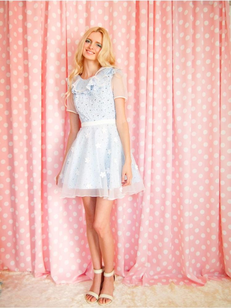 684613aa25891 花柄ワンピース可愛いドレスガーリーファッションレディース通販シフォンハンドメイド LOVEMETENDERタイブランド